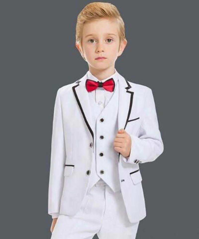 99616ce81 White Boys Suits For Wedding 3 Pieces (Jacket+Pants+Vest) Celebration  Formal Costume Set for Kids Children's Fashion Blazer