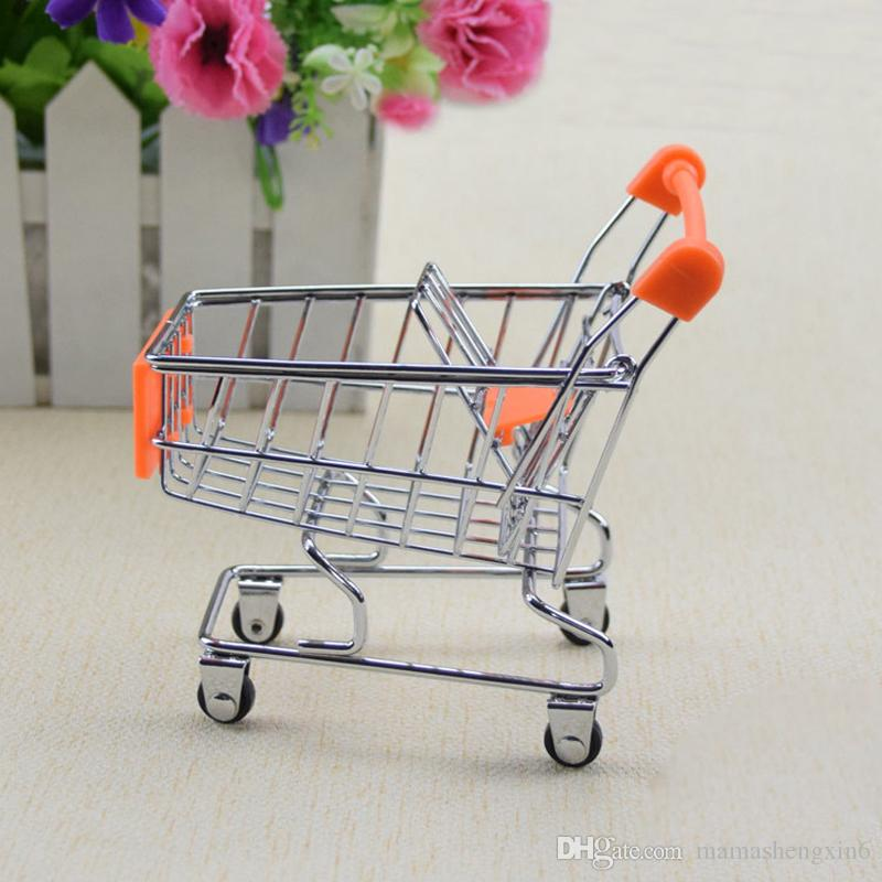 New Kids Play House Cute Shopping Cart Toys Mobile Phone Holder Pen Holder Mini Supermarket Handcart Shopping Utility Cart Toy