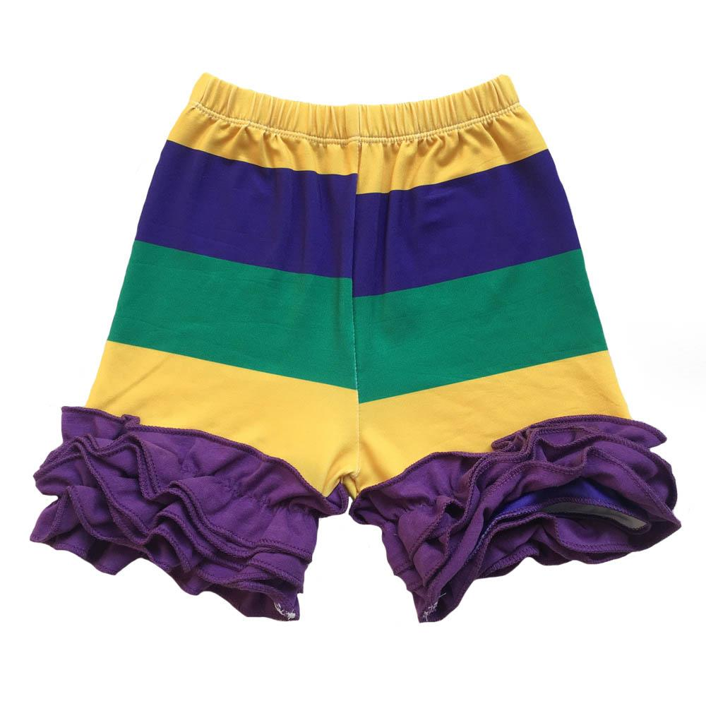Spring color easter triple ruffle leggings Purple,Green and Gold colors printed baby pants raglans for Mardi Gras holiday