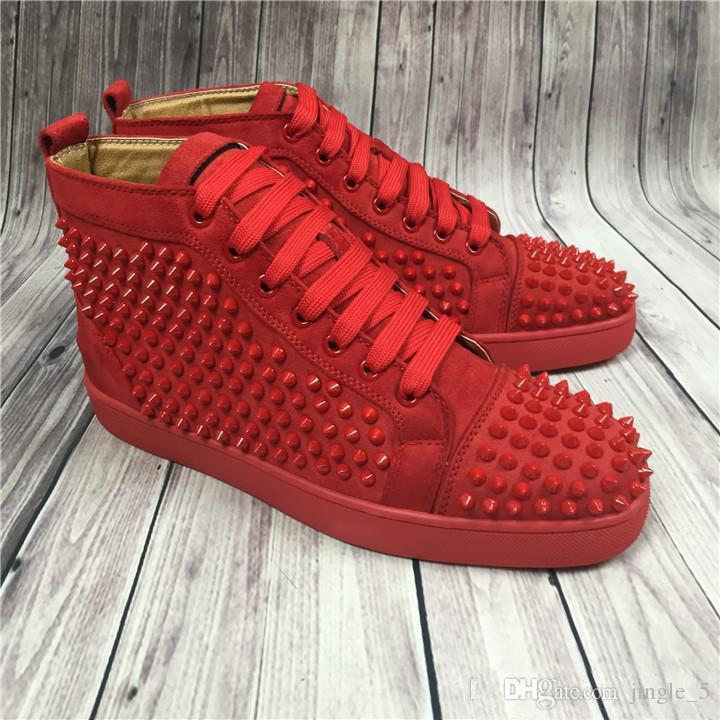 b99c21df06e4 Red Pink Blue Suede High Top Studded Spikes Casual Flats Luxury Red Bottom  Shoes Brand New For Men And Women Party Designer Sneakers Munro Shoes Pink  Shoes ...