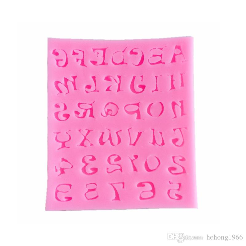 Silicone Mold Mini Letter Number Chocolates Mould Baking Sugar Cake Decorate Pink DIY Soft Food Grade Avirulent Insipidity 2 8zy V