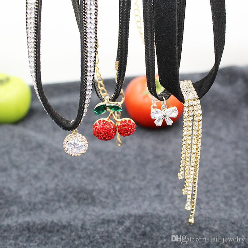 Wholesa Beautiful Gold Plated Cherry Diamond/Butterfly/Zircon/Crystal bar Necklaces Classics Women Jewelry Spring Autumn Summer Mix
