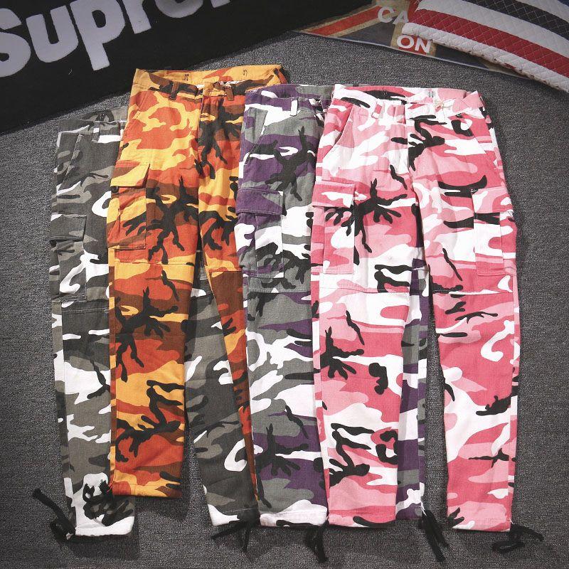 Pantaloni sportivi Cargo Streetwear Donna Uomo Pantaloni mimetici giallo arancione 18 Pantaloni jogger Pantaloni militari mimetici rosa rosso casuali