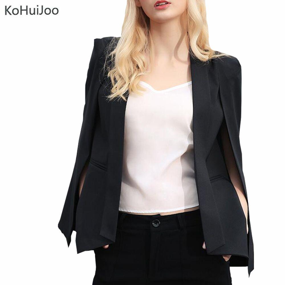 fdf1477068c29 2019 KoHuiJoo Black White Cape Blazer Coat Women Fashion EleOffice Work  Wear Blazer Jacket Ladies Ol Cloak Suit Jackets From Dalivid, $67.81 |  DHgate.Com