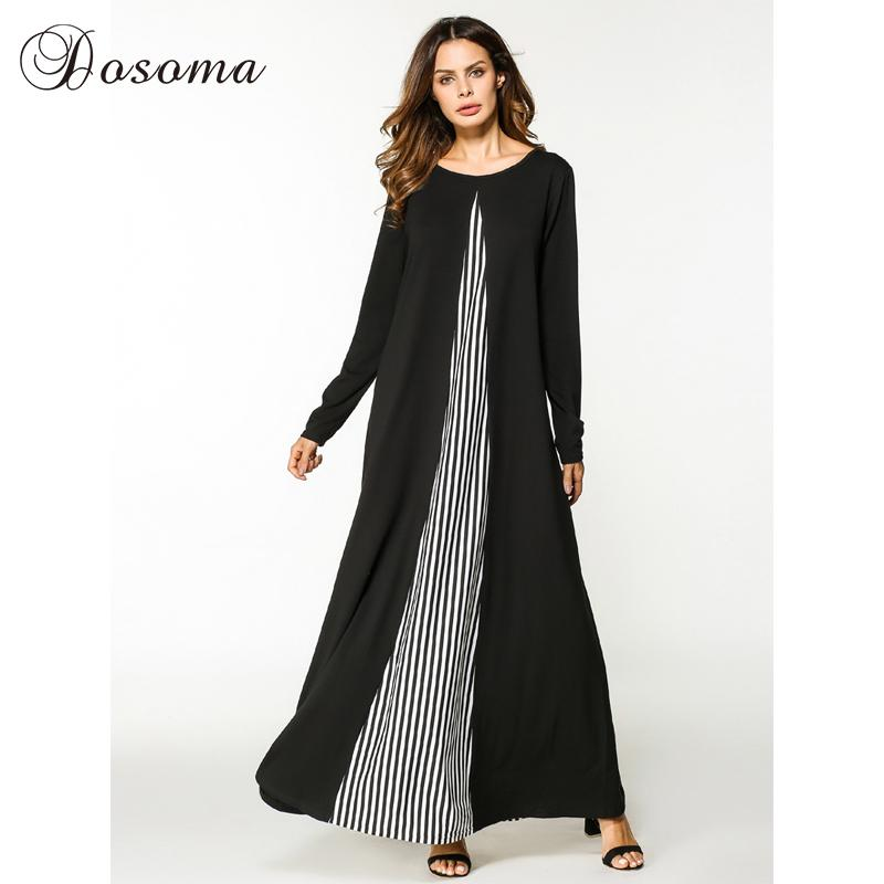 430adc793a6 2019 Casual Maxi Dress Cotton Abaya Stripe Long Sleeve Robe Gowns Patchwork  Middle East Loose Style Muslim Moroccan Islamic Clothing From Jiuwocute