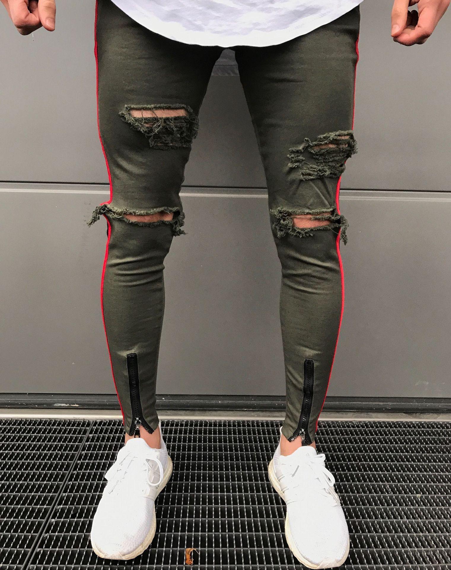 06f55d5590fd Neue Mens Skinny Jeans Schwarz Armee Zipper Schlank Biker Jeans Hip Hop  Knie Loch Zerrissene Denim High-Street Swag Plus Größe Hosen Für Männer