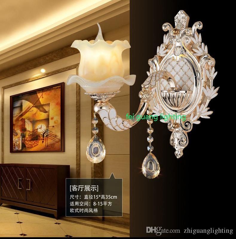 Avrupa kristal duvar lambası çinko alaşım oturma odası arka plan duvar lambası sıcak yatak odası başucu lambası koridor yeşim ışık