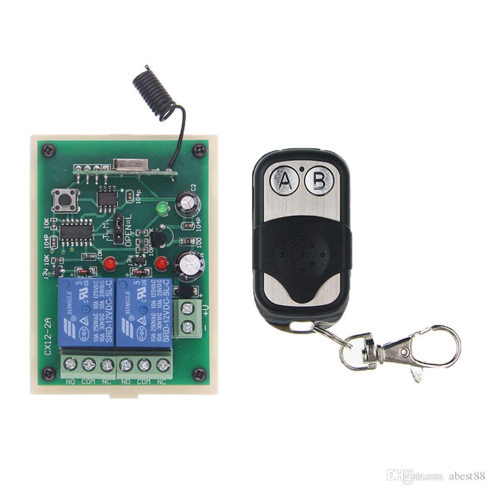 DC 12V 24V 2 CH 2CH RF Wireless Remote Control Switch System,315/433 MHz,  Metal Frame Transmitter Receiver
