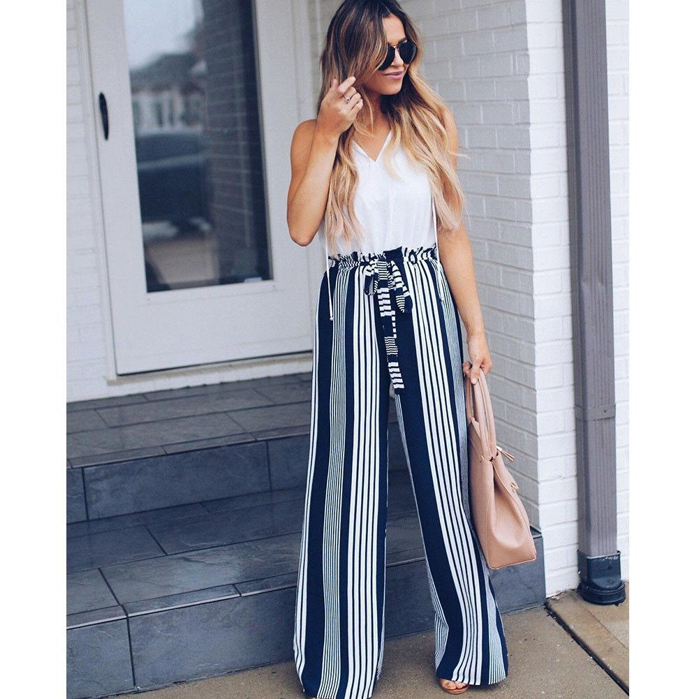 6d893e250249 2019 2018 Fashion Summer Wide Leg Lace Up Pants Women High Waist Striped  Loose Palazzo Pants Elegant Office Ladies Trousers From Pattern68
