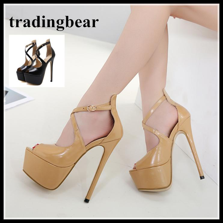 4760d227f75d Sexy Cross Strappy Peep Toe Platform High Heels PU Leather 16cm Size 34 To  40 Wedge Shoes Casual Shoes For Men From Tradingbear
