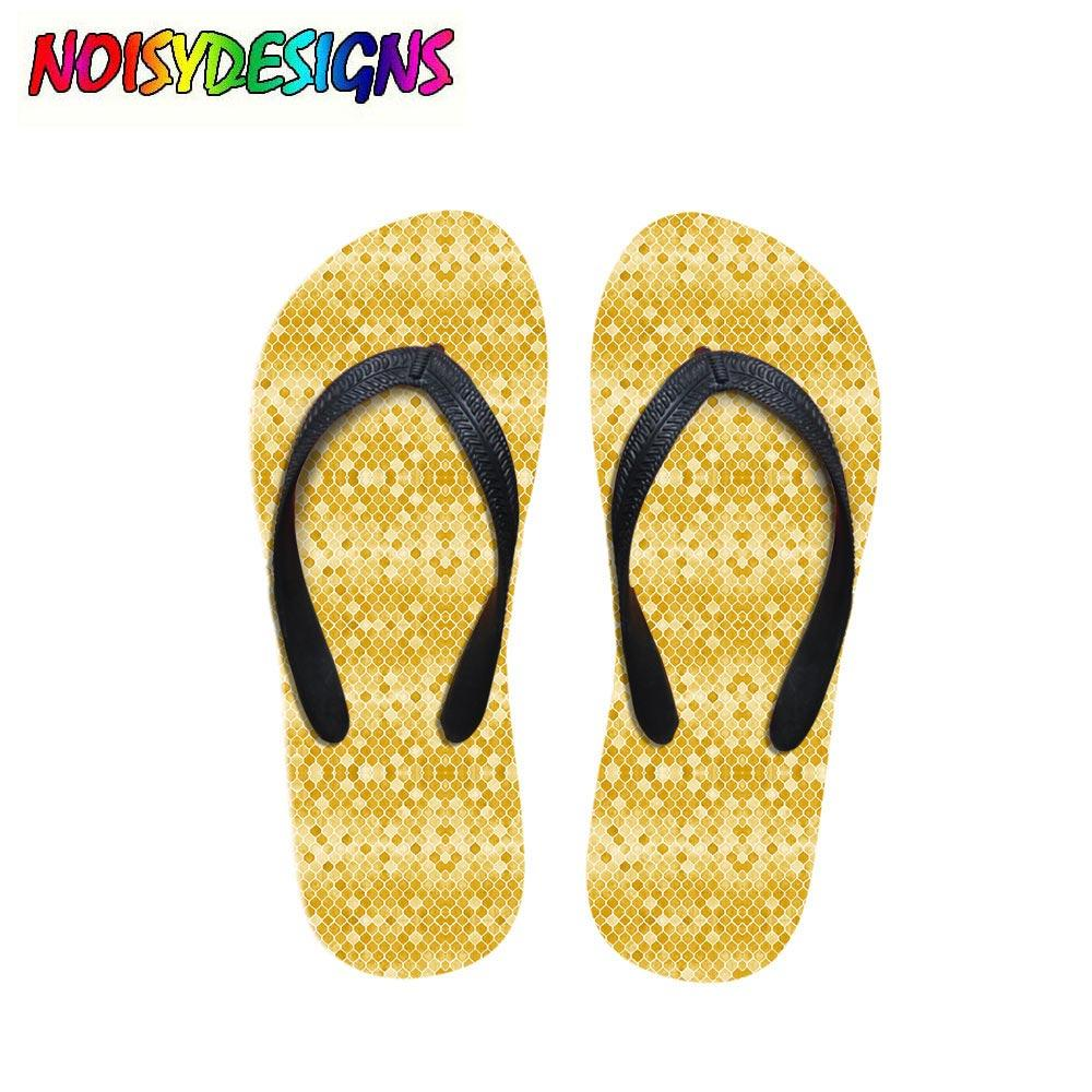 f8a81039936 Women Summer Slippers Fashion Yellow Moroccan Flower Painting Print Flip  Flops For Woman Fenamel Beach Rubber Sandals Flat Shoes Wedge Shoes Flat  Shoes From ...