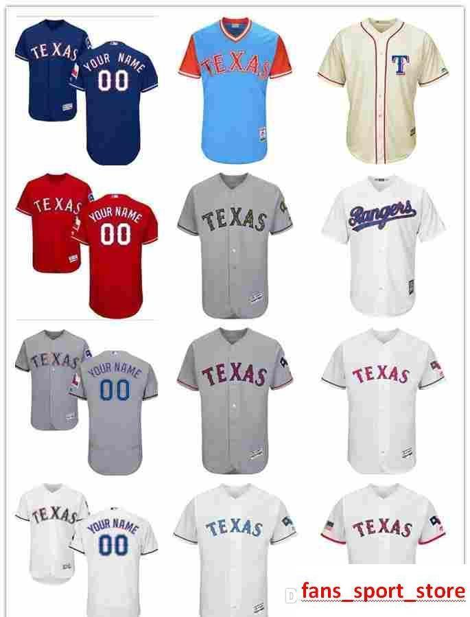 bb4d6bd63 2019 2019 Custom Men S Women Youth Majestic TX Rangers Jersey  00 Any Your  Name And Your Number Home Red Blue Kids Girls Baseball Jerseys From ...