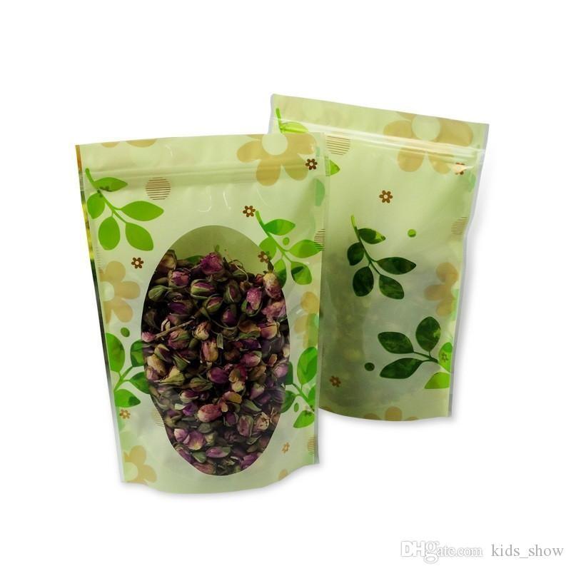 Plastic Ziplock Resealable Packing Bags Tea Dried Flower Fruit Storage bag Clear Poly Self Seal Packaging Bag With Leaf Print