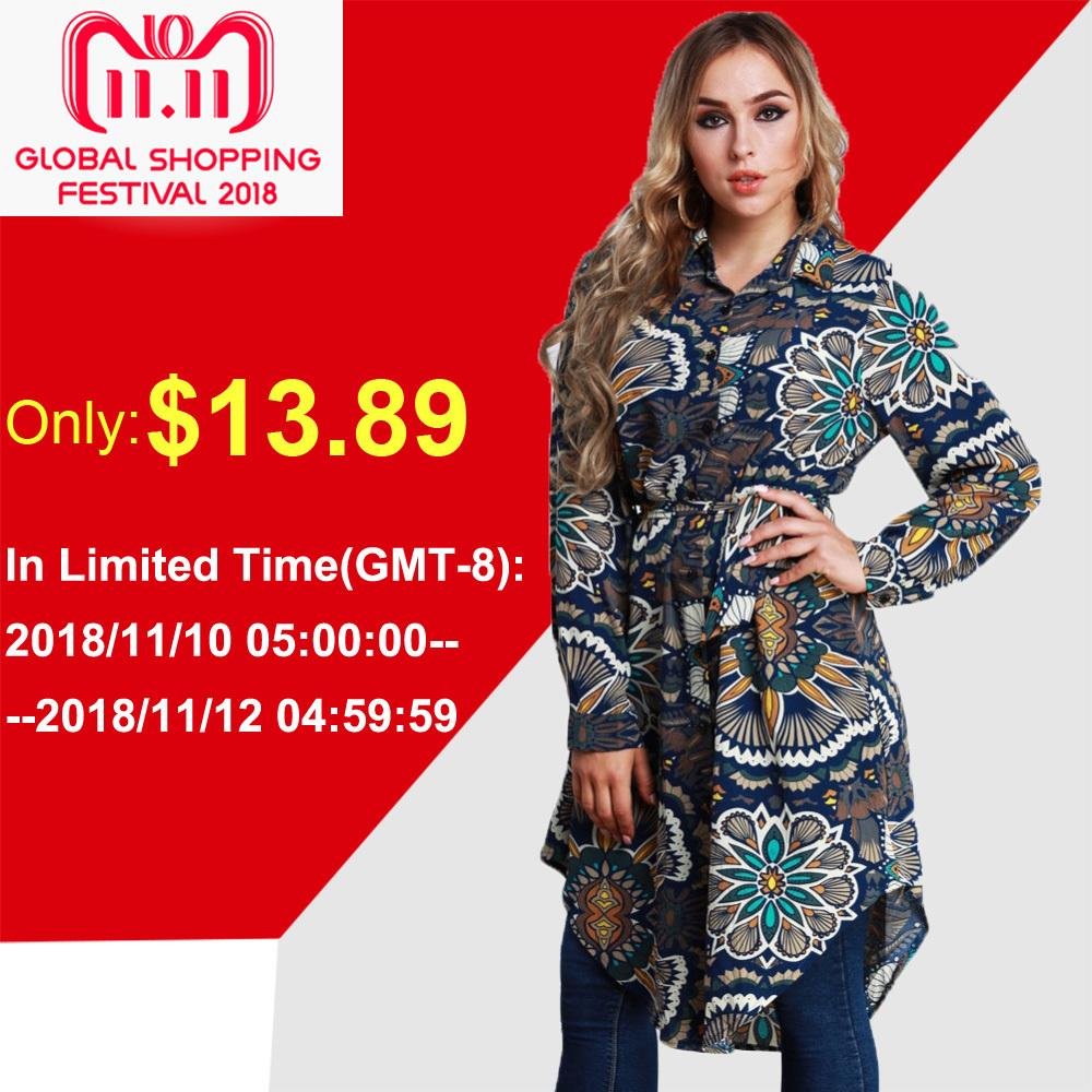 a2b9f50699e 2019 2018 Autumn Large Size Tunics Female Blouse Women Floral Print Shirts  Long Sleeve Asymmetric Tops Plus Size 3XL 4XL 5XL 6XL 7XL D18103102 From  Shen8403 ...