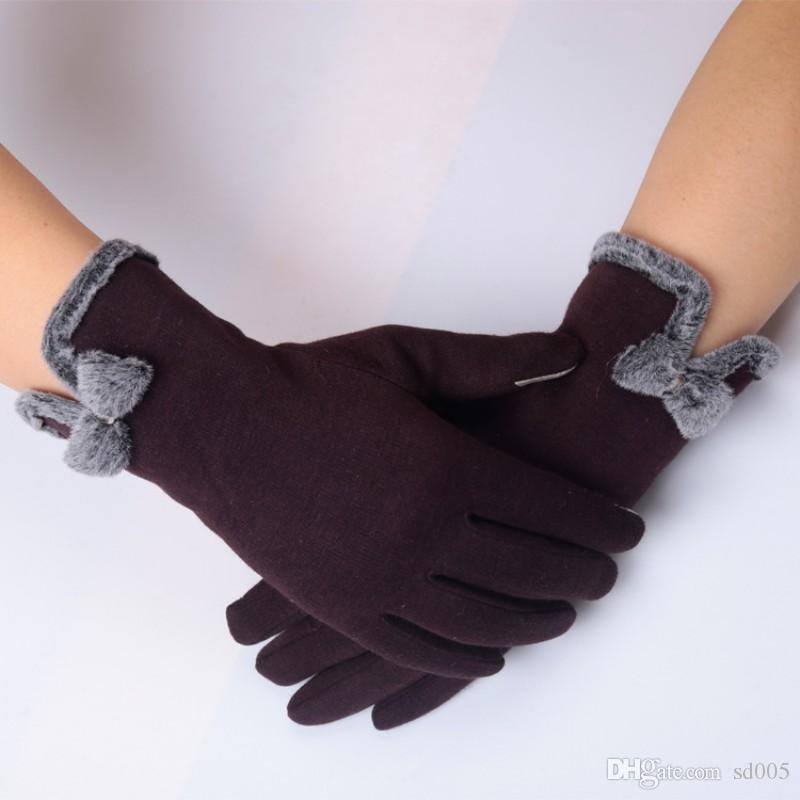 Elegant Designer Women Touch Screen Glove Pure Color Thickening Wind Protection Gloves Fit Outdoor Driving Riding 6 9yj ff