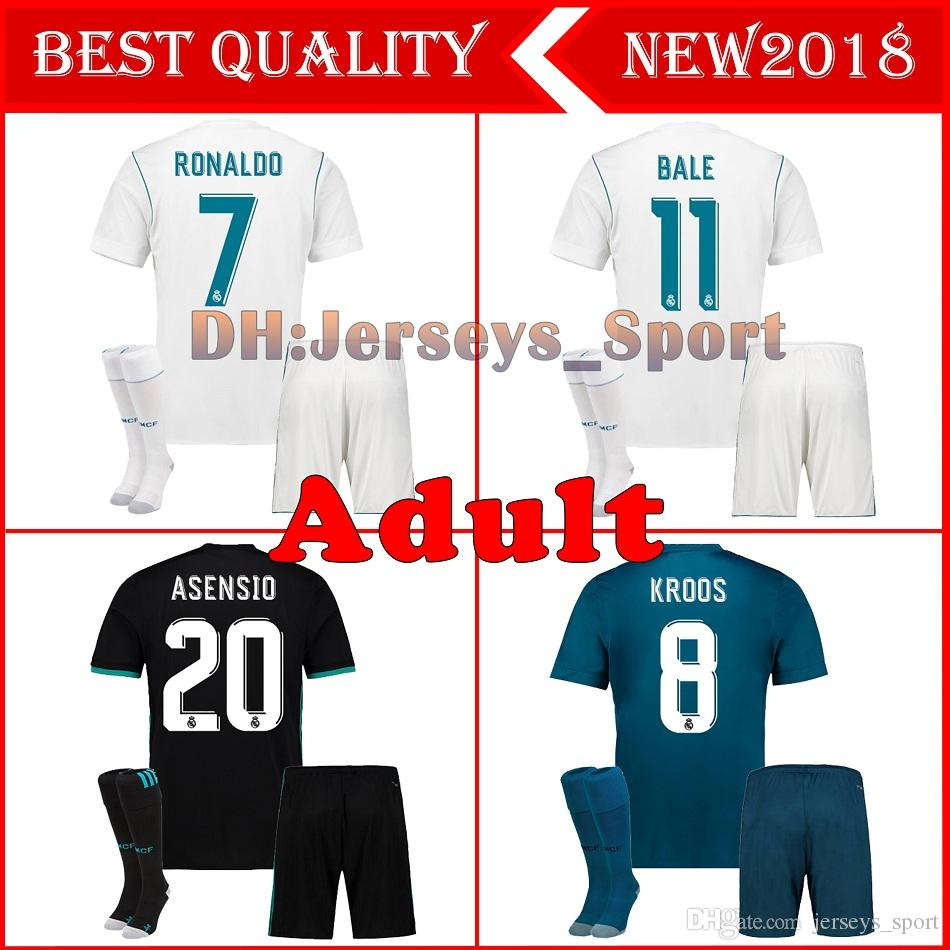 2019 New 2017 2018 Adult Real Madrid Home Soccer Jersey 17 18 Campeones  Ronaldo Bale Football Uniforms SERGIO RAMOS ISCO Away Football Shirts From  ... 1461f6884