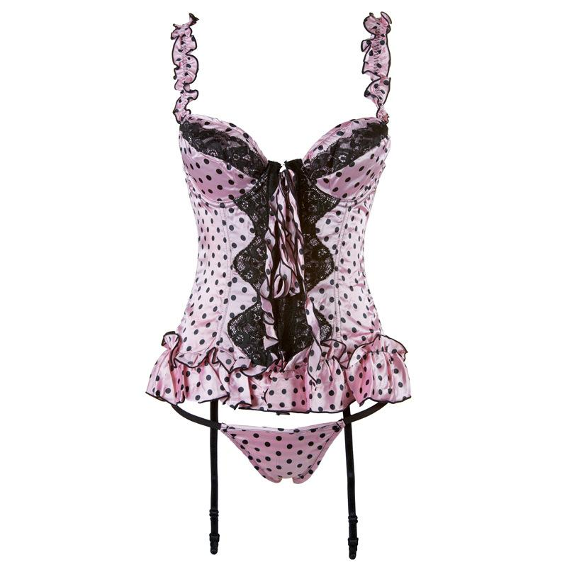 443a886faa6 2019 Steampunk Corset Bustier Dress Dot Prints See Through Mesh Satin  Ruffles Corselet Suspender G String Sexy Underwear Costume From  Erotogenic01