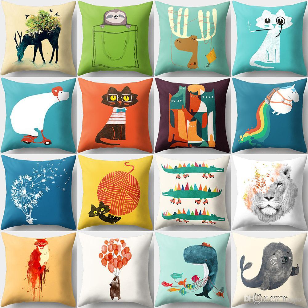 Großhandel 16 Designs Lustige Cartoon Tiere 45 * 45 Cm Haushalt ...