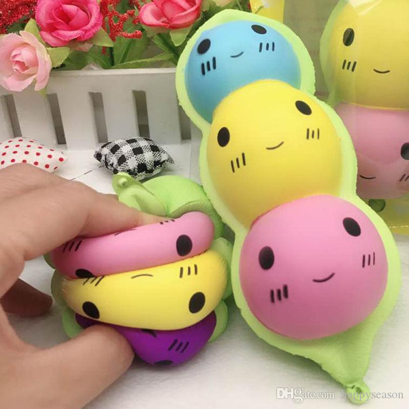 Kawaii Peas Squishy Toys Bean Slow Rising Jumbo Squeeze Phone Charms Straps Stress Reliever Toys Gift