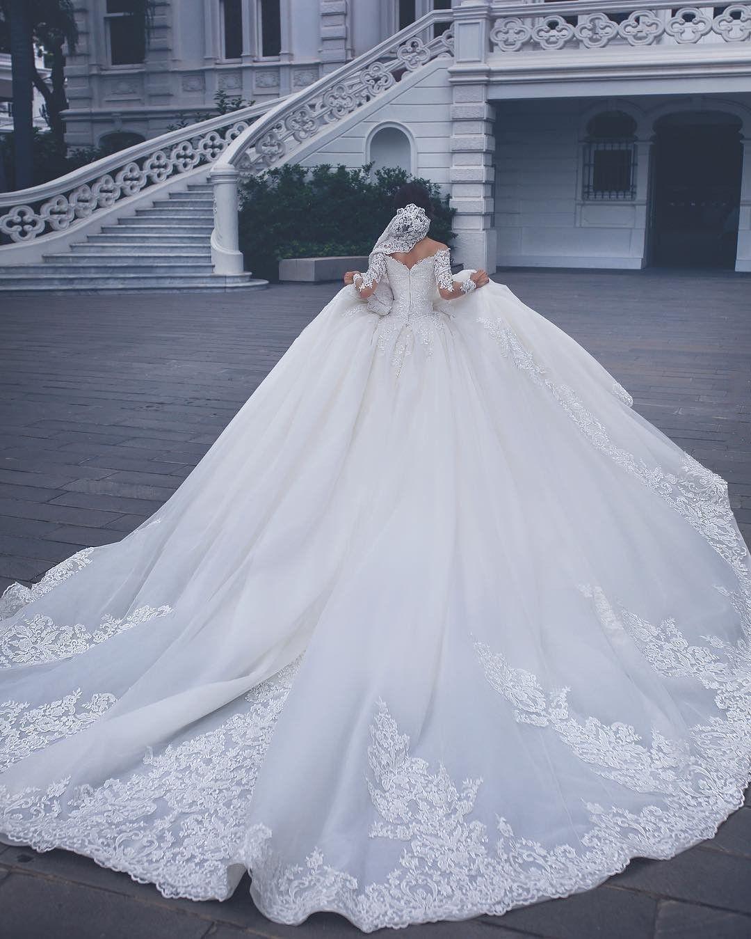 Long Sleeve Tulle Vestido De Novia Off Shoulder Long Sleeves Lace Appliques Ball Gown Wedding Dress Elegance Plus Size Wedding Gown Cheap