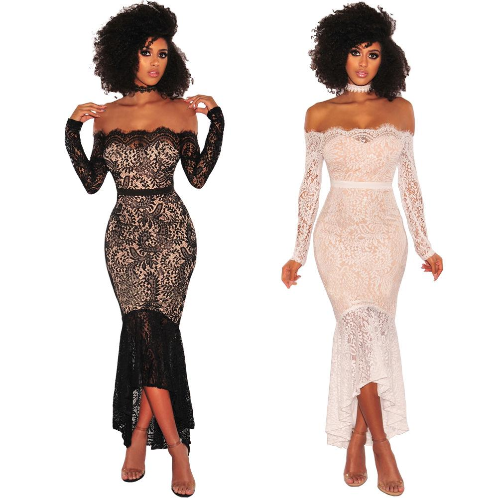 2019 2018 Women Sexy Lace Off Shoulder Maxi Mermaid Dress Floral Pattern  Strapless Long Sleeve Zipper Sheer Night Club Party Prom Fishtail Dress  From ... 7ee97692bb5f