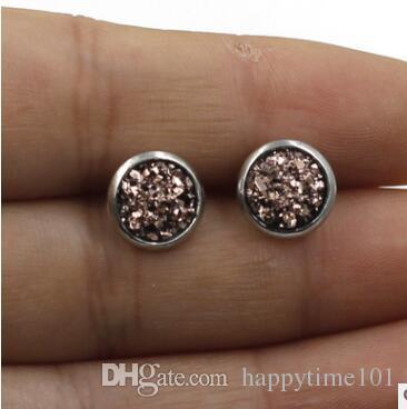 Moda 8 milímetros de aço inoxidável druzy Brincos Resina drusy Dome Seals Cabochon Stud Brincos para Mulheres Jóias