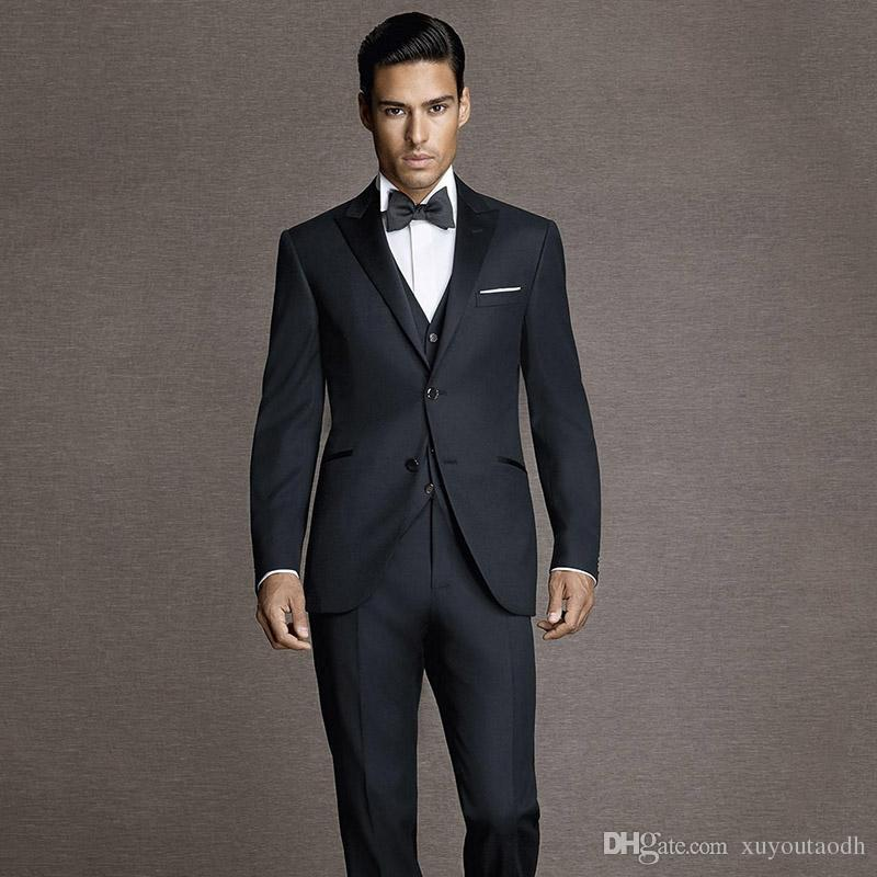 2019 Men Suits 2018 Black Peaked Lapel Wedding Suits Custom Made Handsome  Slim Fit Bridegroom Best Men Blazer Formal Tuxedos Party Evening Dress From  ... 34fa50c77e09