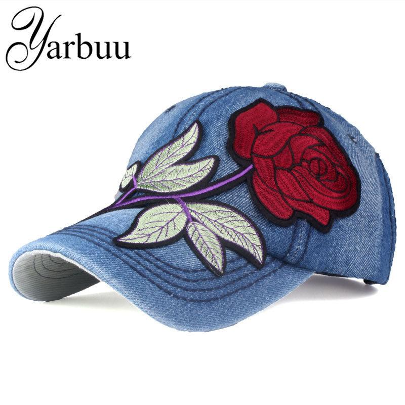 YARBUUBrand Denim Baseball Cap with Red Rose Women Casual Snapback ... 18168a8d011b