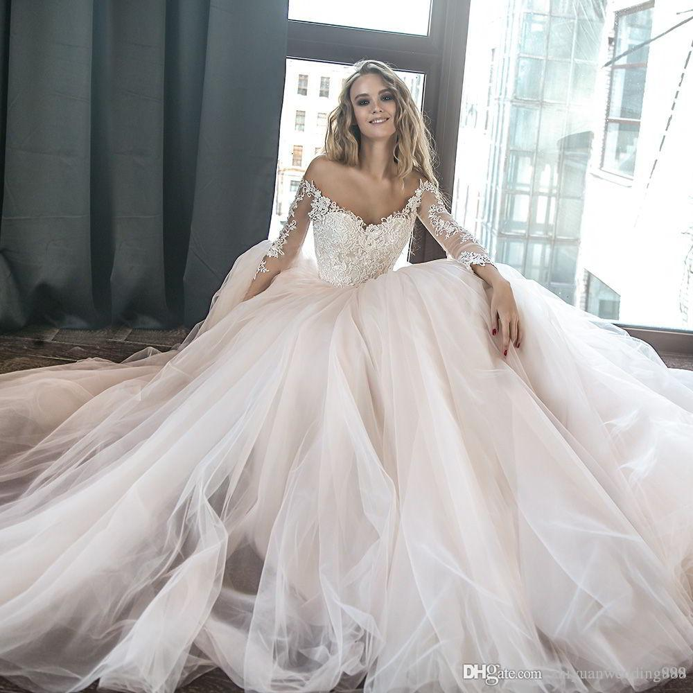 Blush Lace Princess Ball Gown Wedding Dresses 2018 Long Sleeves Off
