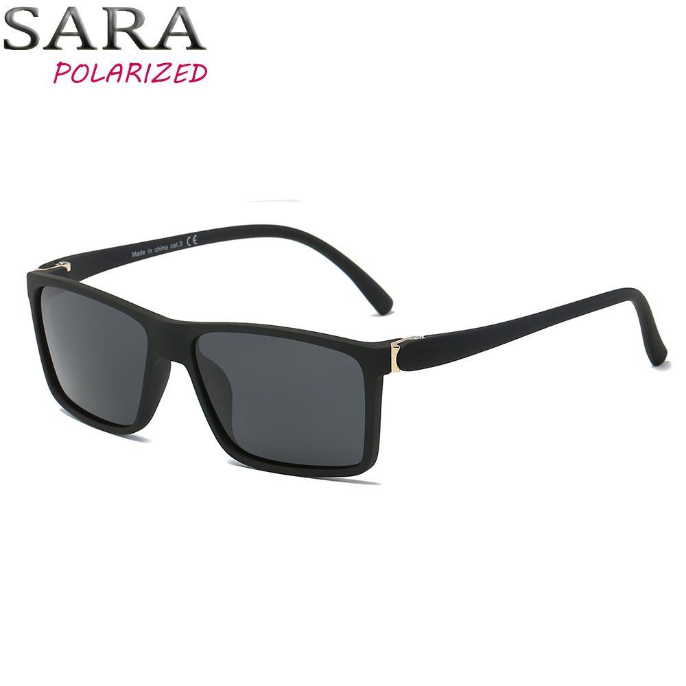 Compre SARA Marca Design Polarizada Óculos De Sol Dos Homens Sombra  Masculino Vintage Óculos De Sol Para Homens Quadrado Legal Preto Verão  UV400 Oculos De ... 9144ffab21