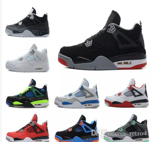 25639427a5eb Cheap New 4 Men Basketball Shoes Pure Money White Cement Premium Black  Military Blue Thunder Bred Oreo Fire Red 4s Sport Sneakers Sports Shoes For  Women Low ...