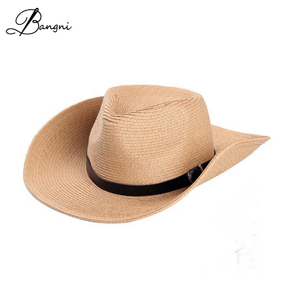 601e23c42d5 Classic Outdoor Casual Travel Straw Hats For Men Wide Brim Floppy Sun Hat  High Quality Leather Belt Foldable Cowboy Caps Summer Hats Winter Hats For  Women ...