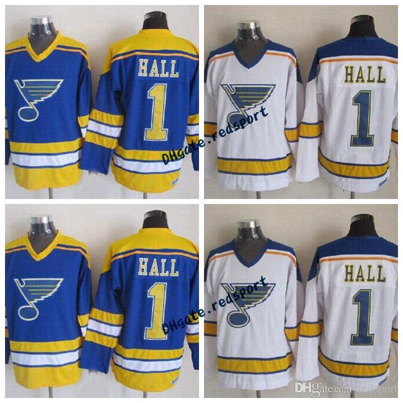 new arrival d0be6 bbb6a Glenn Hall St. Louis Blues Hockey Jerseys 1967 Vintage CCM 1 Glenn Hall  Stitched Hockey Jersey Blue Shirts