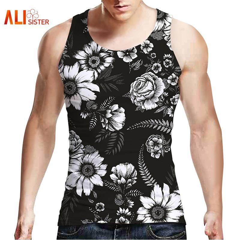 3834582c5ca14 2019 Wholesale Alisister Floral Tank Top Men Wmen Black Punk Tank Tops 2017  Summer Sleeveless Hip Hop Tee Shirt Top Brand Clothing Dropship From  Remand