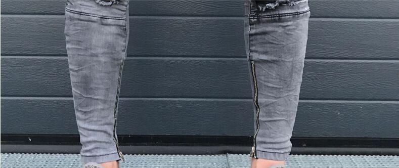 Nouveau Printemps Fold Mens Jeans De Mode Zipper Trou High Street Style Slim Pieds Pantalons Pantalons De Moto Pour Hommes
