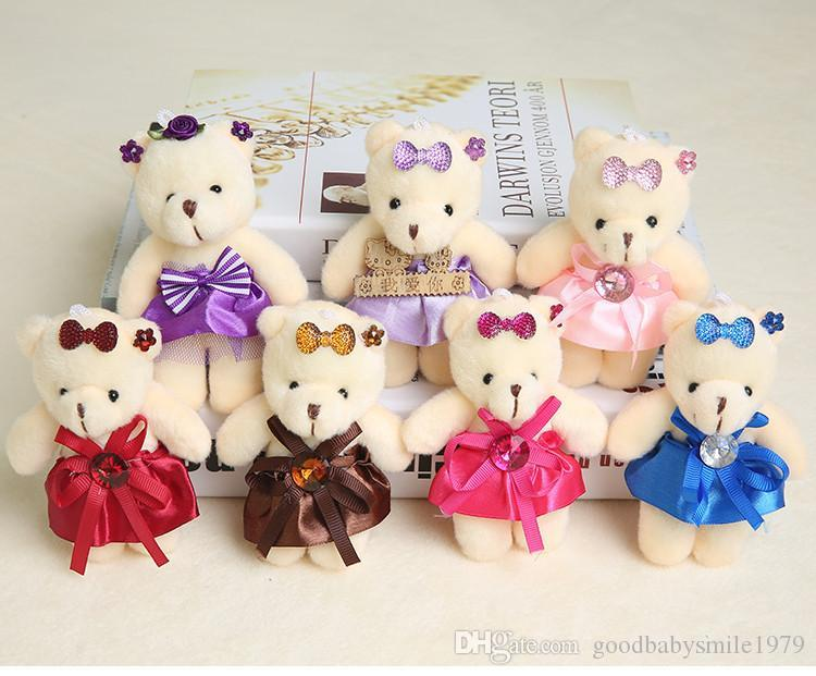 aa56a26660a 2019 Wholesale 12CM Bear Lovely Girls Plush Toy Doll Stuff Plush Mini  Bouquets Bear Toy For Promotional Gift From Goodbabysmile1979