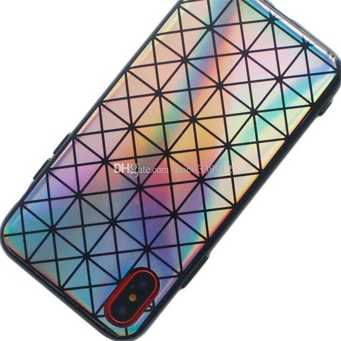 Laser Rainbow Shiny Case Étincelles Bling Felxible Doux TPU Cas Couverture Pour iPhone X 8 7 6 6 S Plus