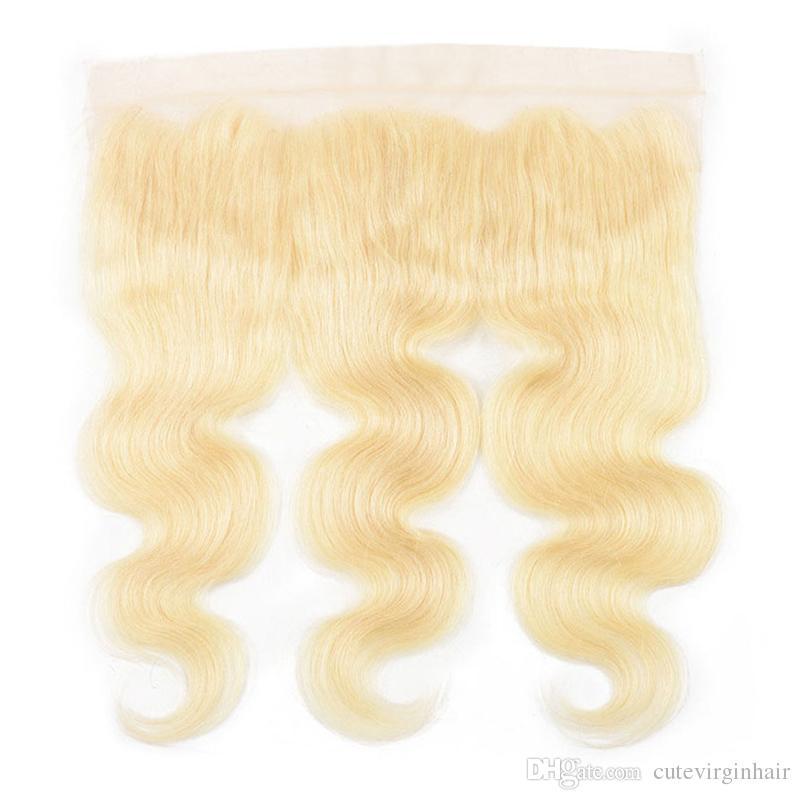 Бразильская волна тела 613 блондинка в ухе 13x4 полное кружевное лобное закрытие с 3 пучками Real Virgin Heam Hair Blonde Weaves расширение