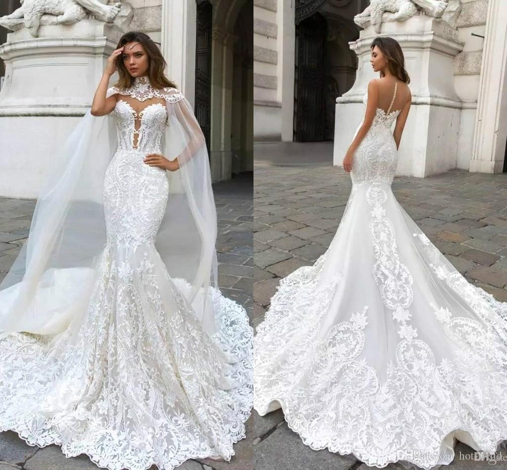 2018 New Mermaid Lace Wedding Dresses With Cape Sheer Plunging Neck Illusion  Back Long Bridal Gowns Beach Garden Wedding Gowns BA9313 Vintage Wedding  Gowns ... e1bba9472898