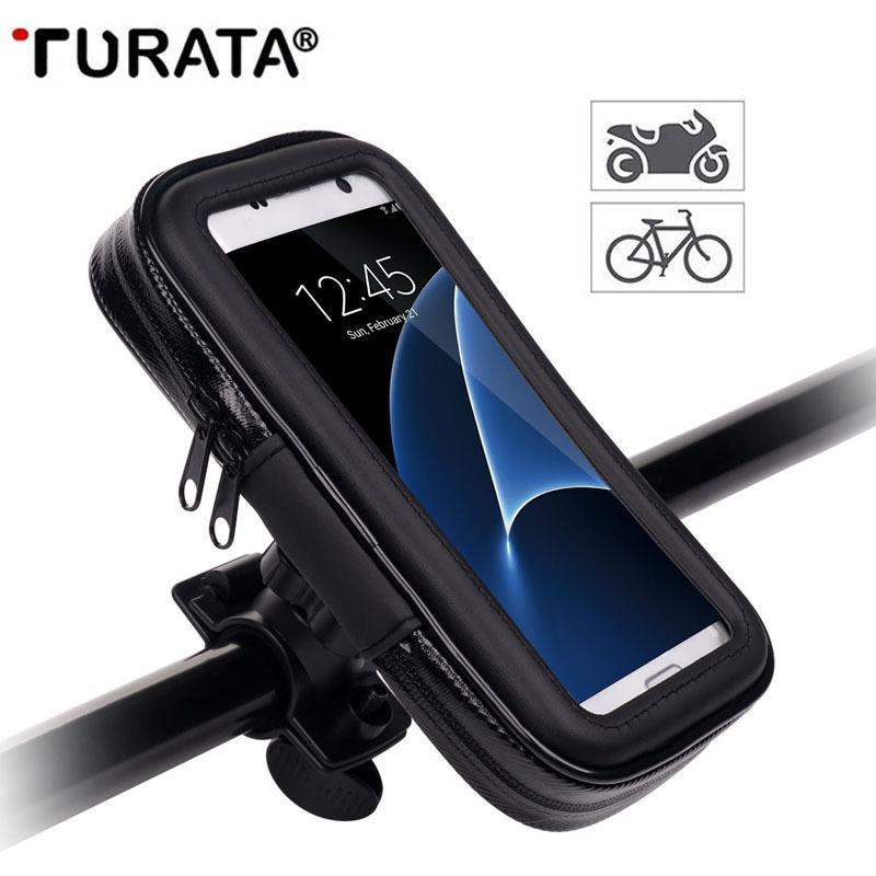 buy popular c65ff 48379 Turata Waterproof Motorcycle Phone holder Bike Bicycle Holder Mobile Phone  Mount Holder Bag For iPhone 5 5S 6 6S 7 Plus Case T45 C18110801