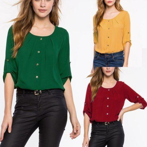 b8c8ea9c4 New Arrival Chiffon Blouse Shirt Women Summer Loose Tops Long Sleeve Shirt  Lady Fashion Casual Blouse T-shirt Size S-2XL Online with $23.66/Piece on  ...