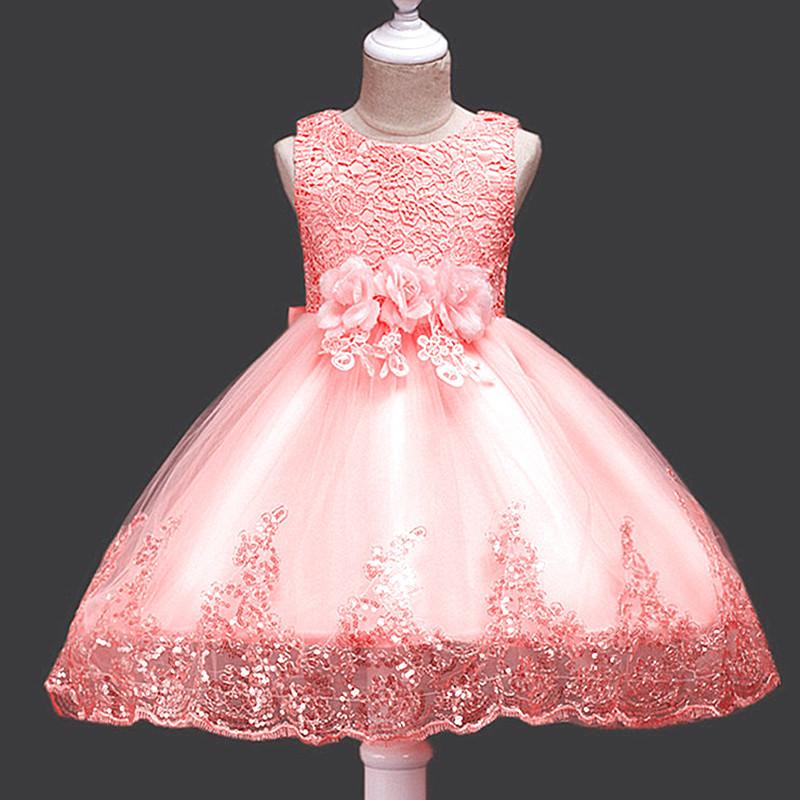 627698be7e46 2018 Flower Girl Dresses Baby Party Dresses Sleeveless Crochet Flower Lace Girls  Dress Christmas Wedding Children Tutu Princess Girls Dress Red Flower Girl  ...