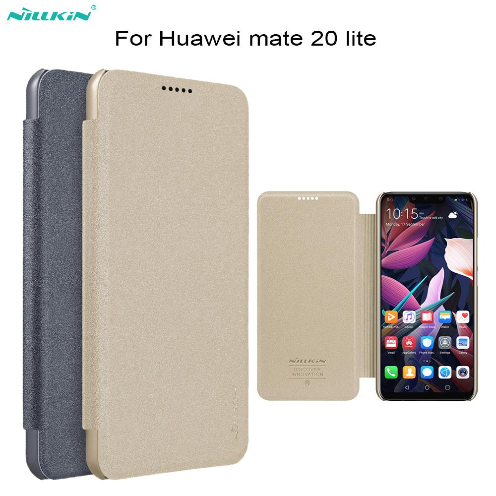 best website b9d07 ecfa4 Flip case for huawei mate 20 Lite NILLKIN Sparkle Super Thin Flip Leather  Case For mate 20 Lite Cover Smart Sleep Wake Function