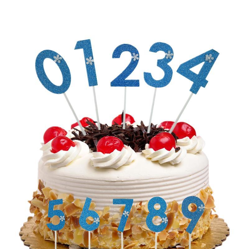 Acquista Cake Toppers Flags Blue Glitter Numero Cupcake Topper Buon