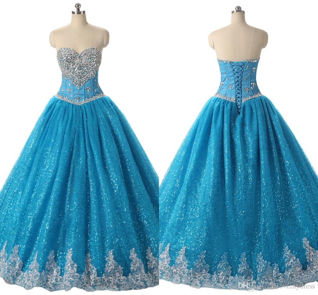 Real Image Strapless Quinceanera Dresses Prom Rhinestone Beaded