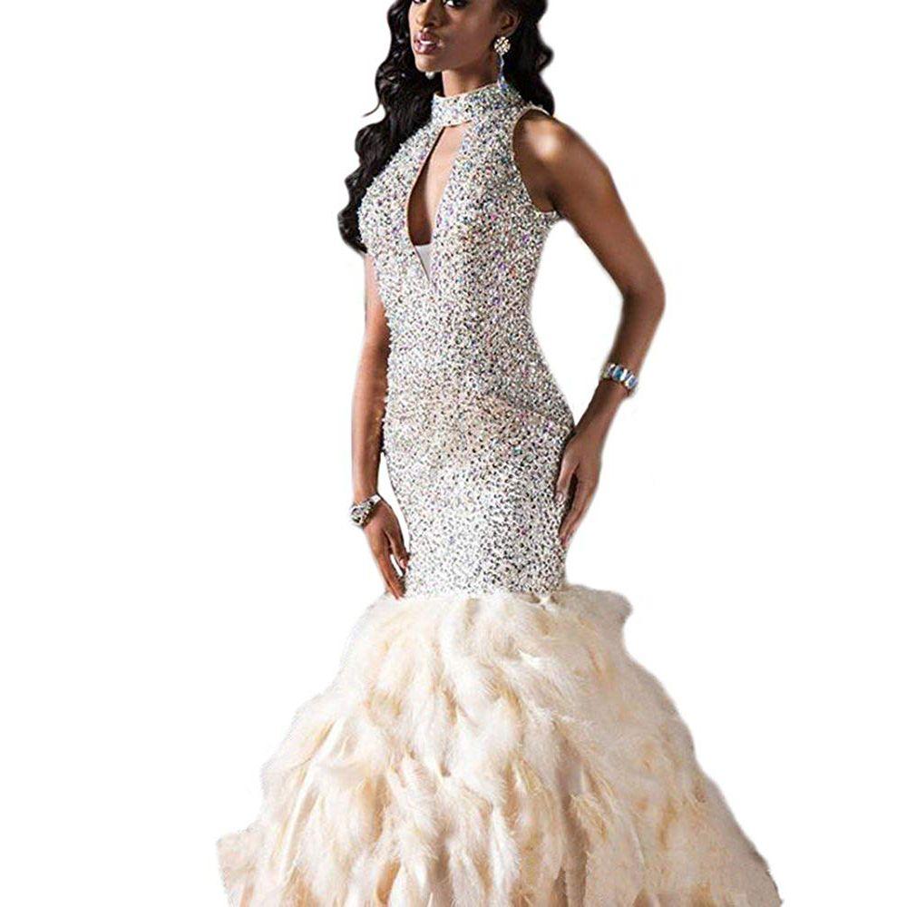 Acquista Mermaid Prom Dress Collo Alto Piuma Strass Paillettes Prom Dress  2018 Abito Da Sera Prom Abito Da Sera Lungo Vestido De Gala Elegante  Ballkleider A ... 479c8a605be