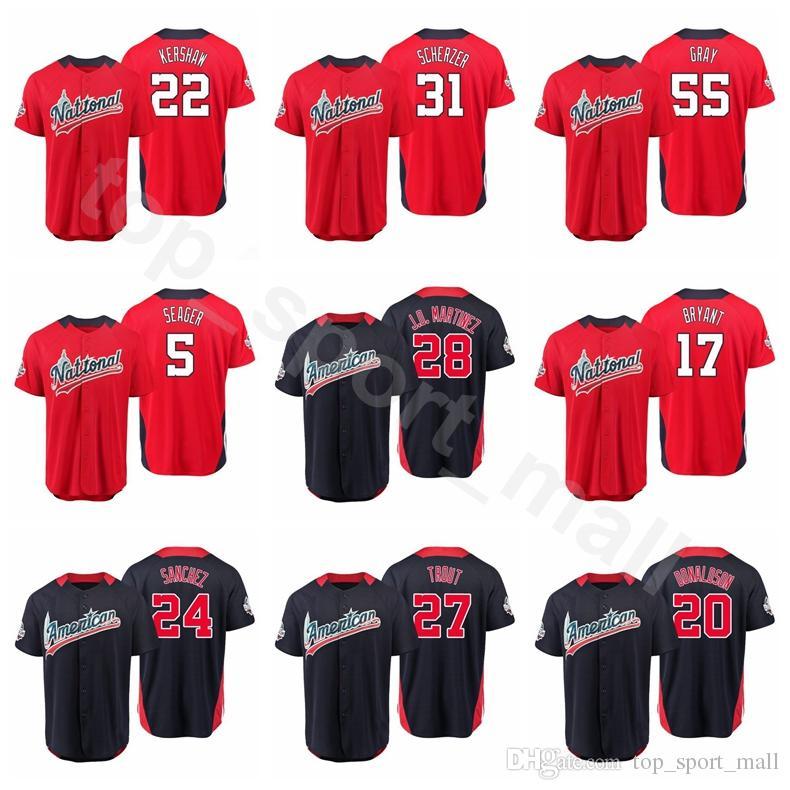 2018 All Star Baseball Jersey 17 Rhys Hoskins Christian Yelich Nolan  Arenado Bryce Harper American National League World USA Men Kids Women UK  2019 From ... 683cac3ddb1f