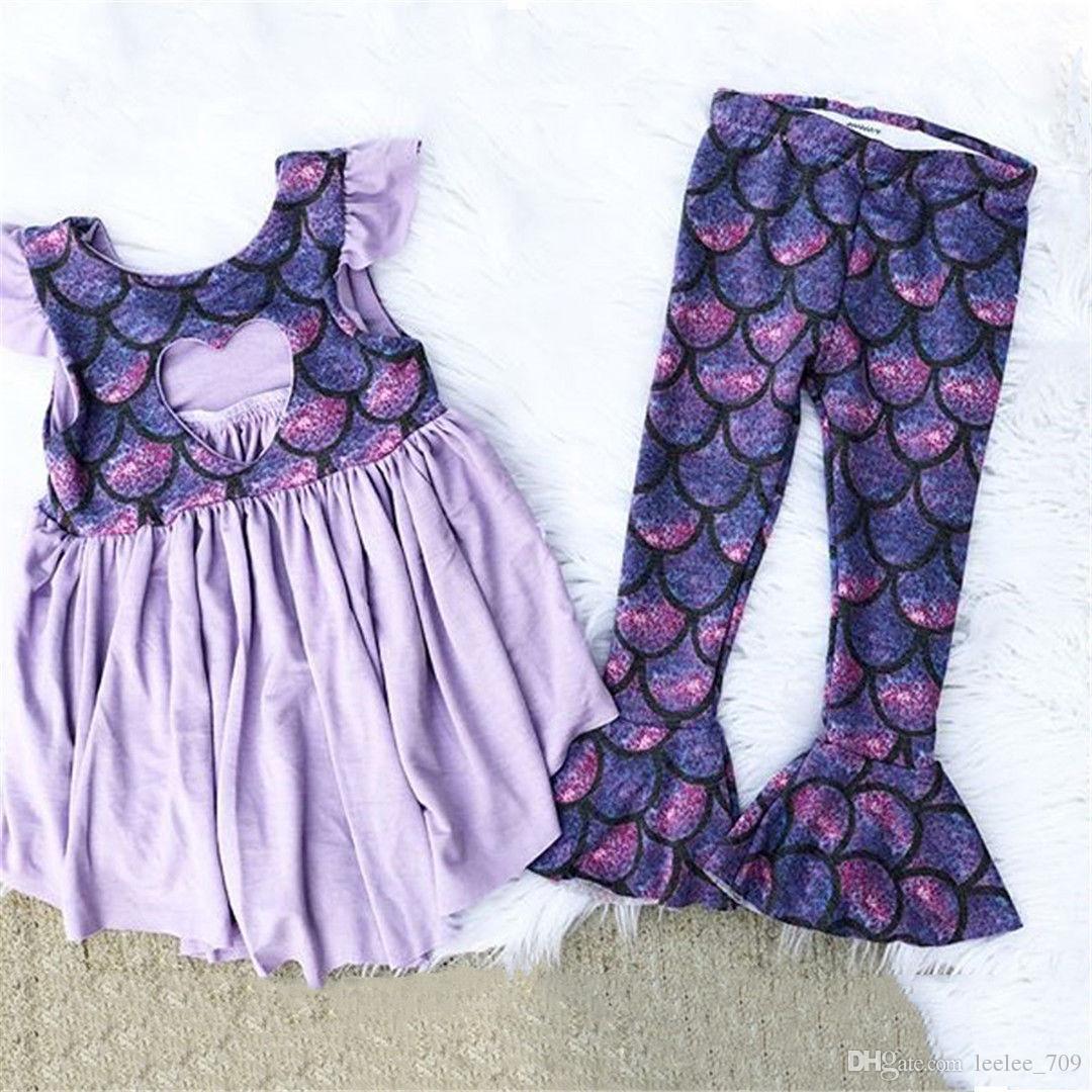 955e5228b68e3 2018 INS baby girl toddler 2piece set outfits Mermaid Tank Tops Shirts  dress + Mermaid Pants Tights Leggings Summer Cute outfits