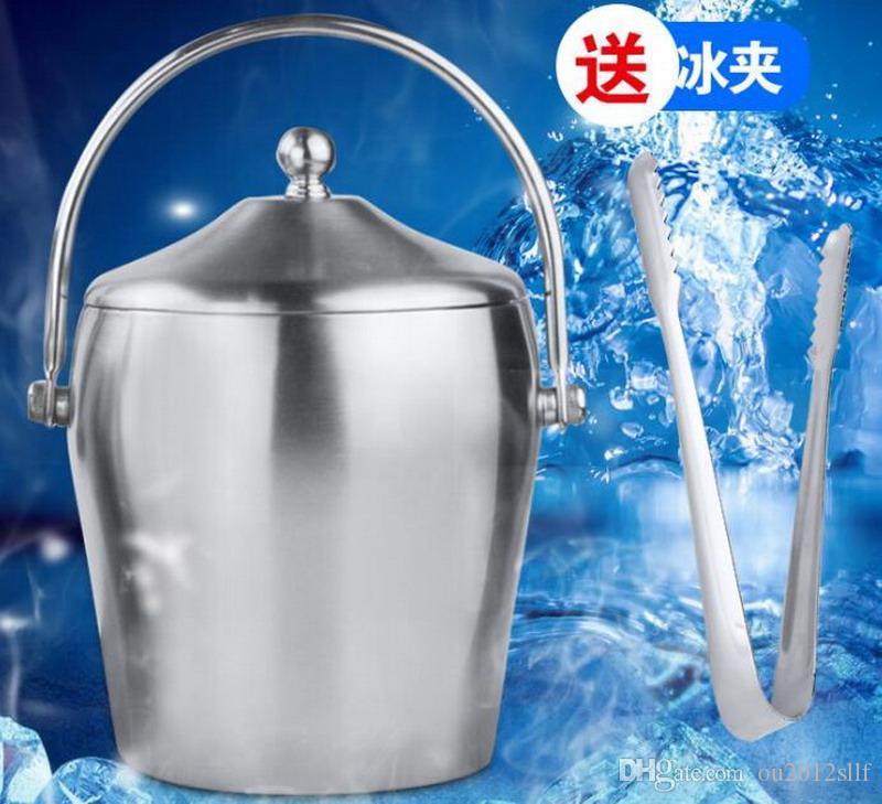 Cubo de hielo de acero inoxidable con tapa de vino cubo de champán bar KTV Buckets