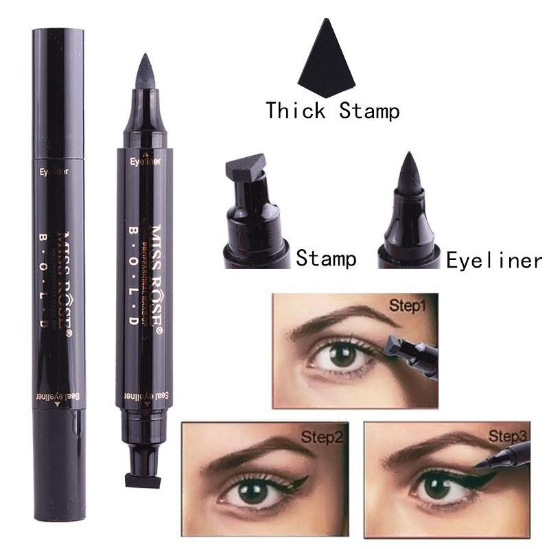 2018 Newest Miss Rose Stamp Eyeliner & Seal Pencil Professional Eye Makeup Tool Double Heads Two Heads Eyeliner Pen